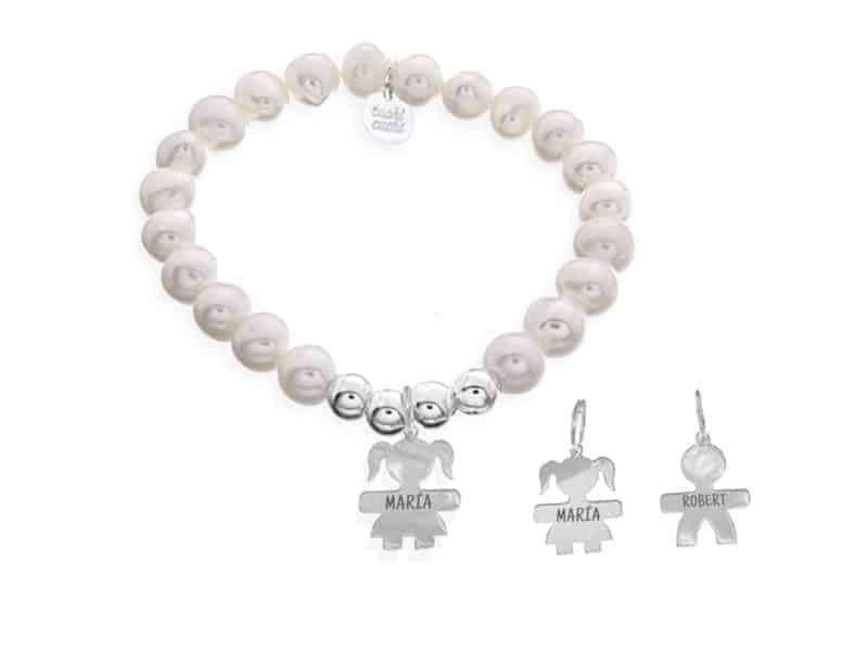 pulsera perlas niños colgando