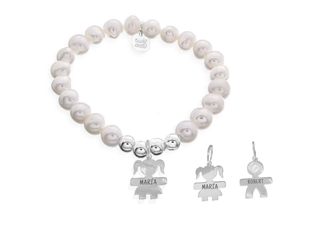 4d418434106a Pulsera perlas personalizada con niño o niña grabado - Cuchicuchi ...