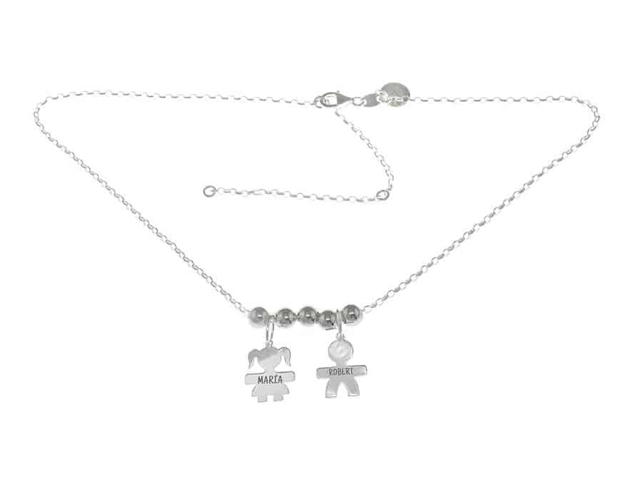 493550918bea Gargantilla cadena de plata niño niña grabado