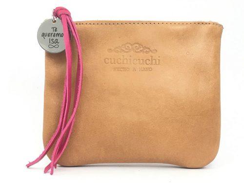 bolso personalizado cuero rosa