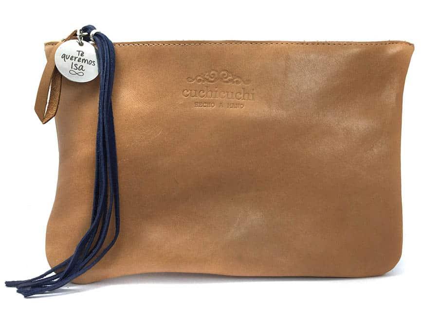 bolso personalizado piel azul cuero