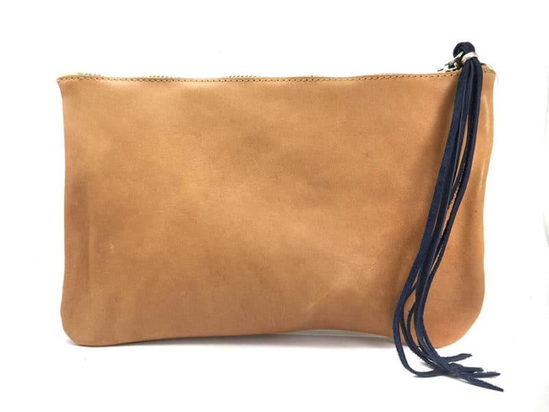 bolso personalizado piel azul nombre