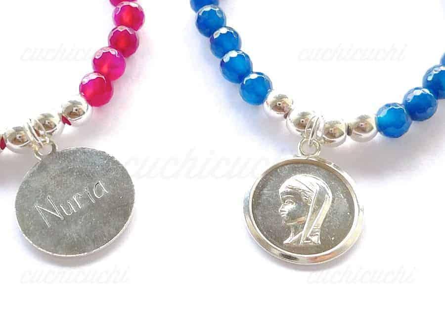 8fe3ac5b74d5 Pulsera medalla de plata virgen para niña  Joyeria personalizada ...
