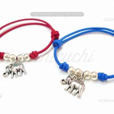 pulsera plata elástica elefante