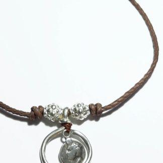 Collar aro plata gargantilla y moneda
