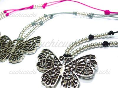 Collar mariposa y bolas plata