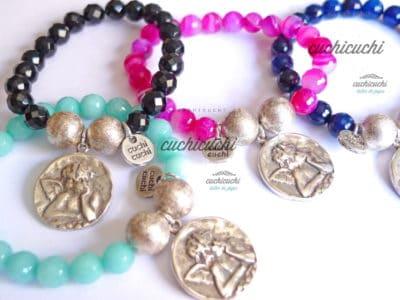 Pulsera medalla angel con piedras naturales