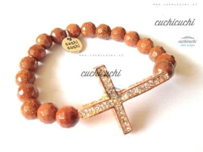 Pulsera con cruz de brillantes y piedras de brillo