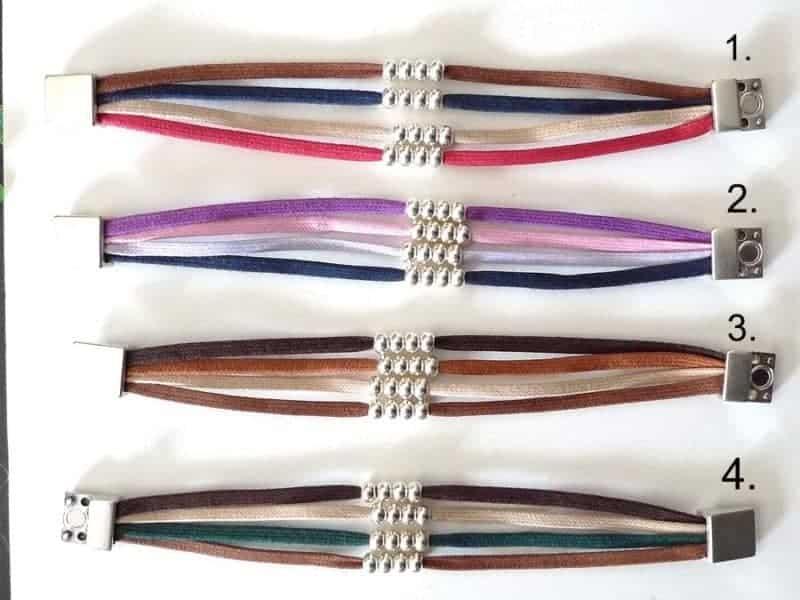 Pulsera de plata bañada bolitas y tiras de colores