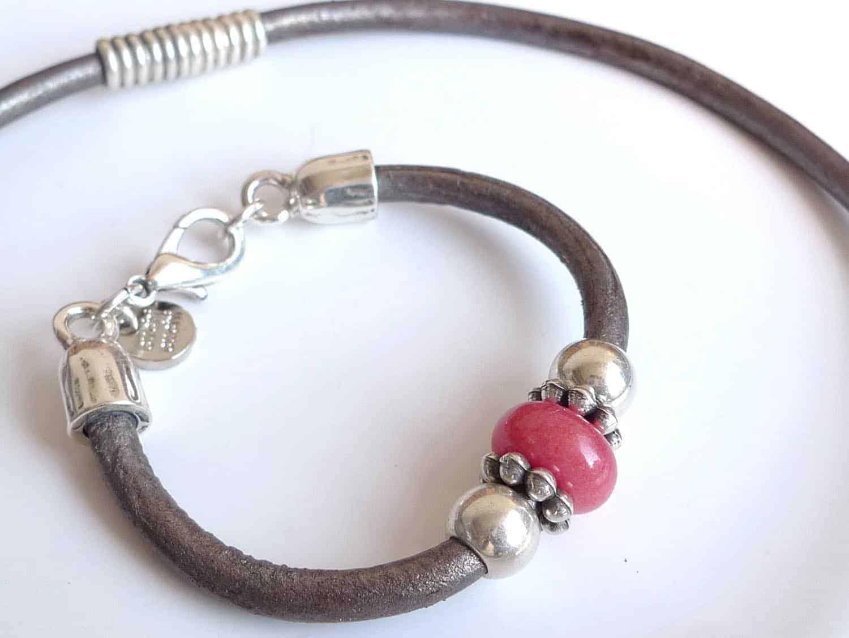 Pulsera y collar de cuero plata ba ada y piedra cuchicuchi regalos personalizados y joyas - Collares de cuero ...