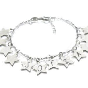 pulsera estrella personalizada plata