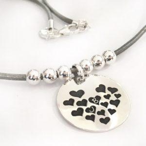 gargantilla corazones plata iniciales