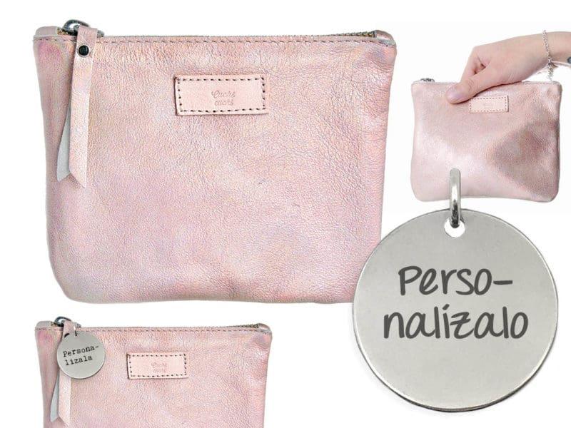 bolso rosa iridiscente personalizar