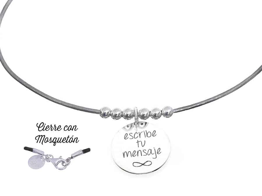 07fdb10c83c0 Collar personalizado cuero 6 bolas gris metalizado - Cuchicuchi ...