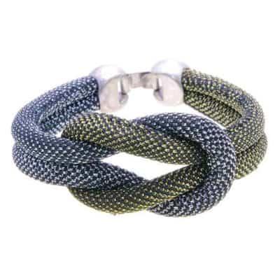 Pulsera snake gris dorado