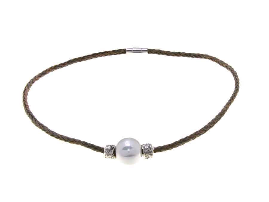 Gargantilla perla trenza marrón 2