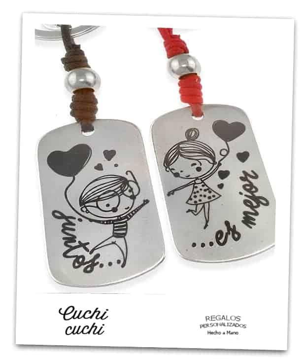 detalles a juego para parejas enamorados personalizados de plata