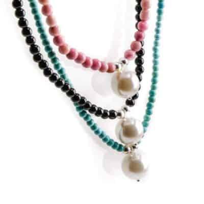 collar perla y piedra natural plata ley