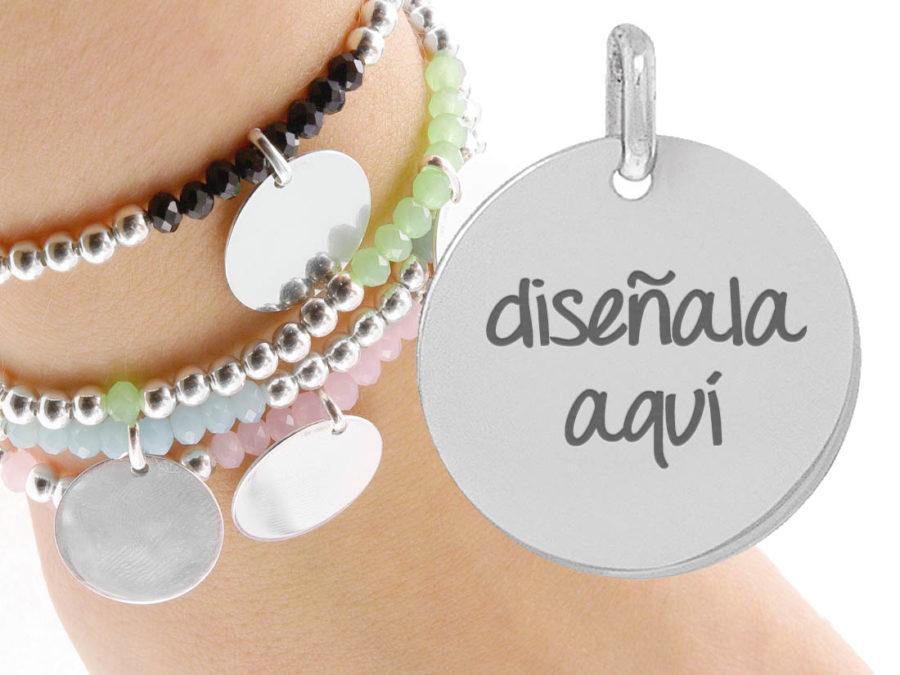 pulsera personalizada cristal y plata ley