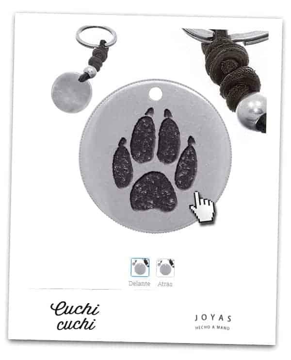 joyeria personalizada para mascotas colgante huella perro llavero