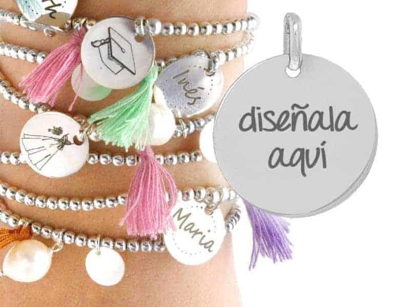 pulsera personalizada pompon perlas