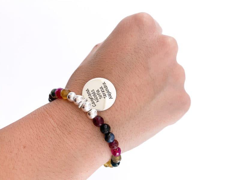 pulsera personalizada multicolor pardo plata ley