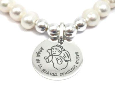 Pulsera de perlas personalizada angel de la guarda