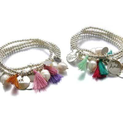 pulseras personalizadas pompon, perlas y plata