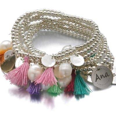pulsera personalizada plata y perla pompon