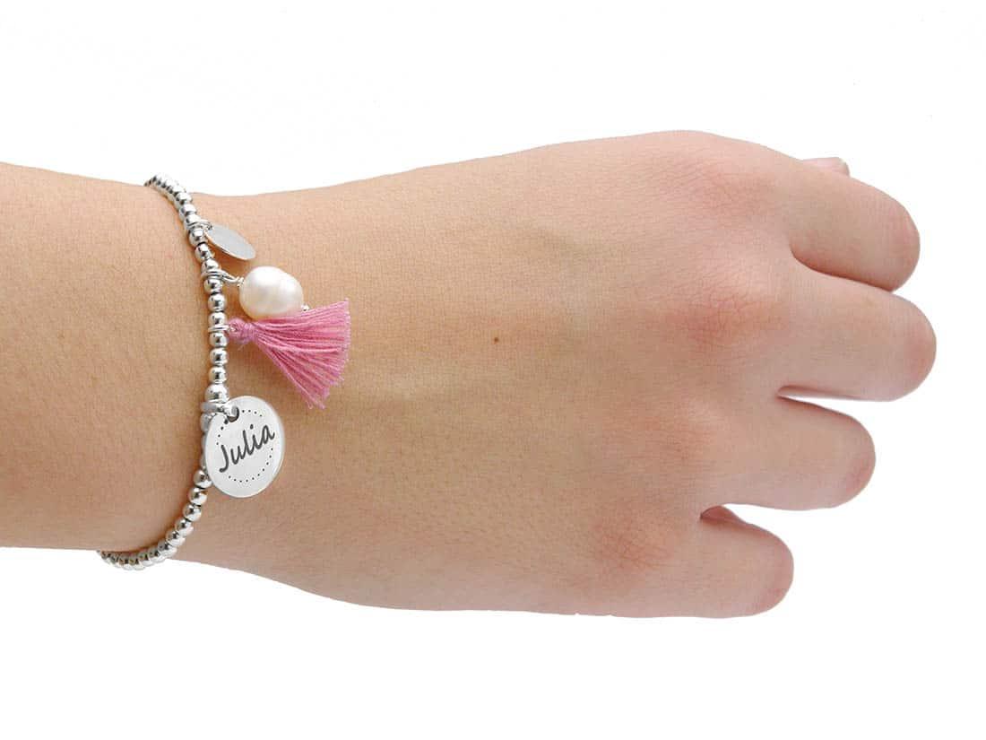 pulsera personalizada plata y perla pompon rosa