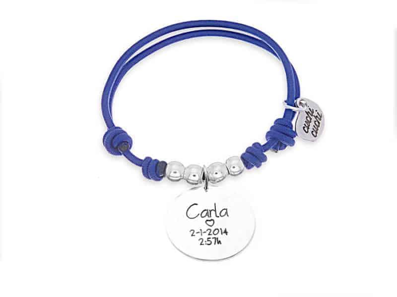 Pulsera personalizada elástico azul MADRE