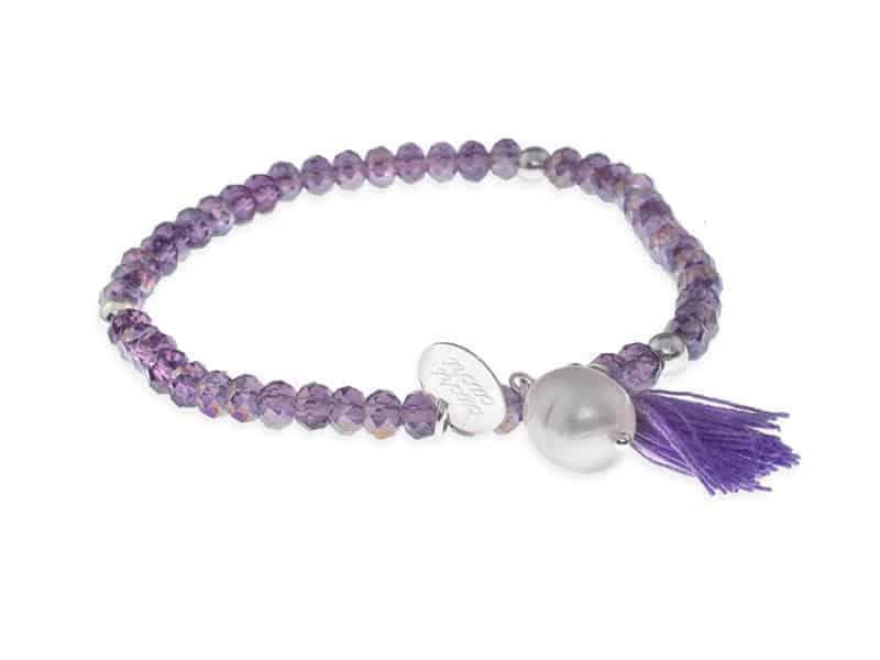 pulsera pompon cristal y perla morada