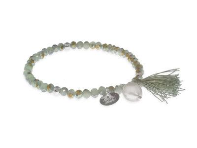 pulseras cristal perla y pompon