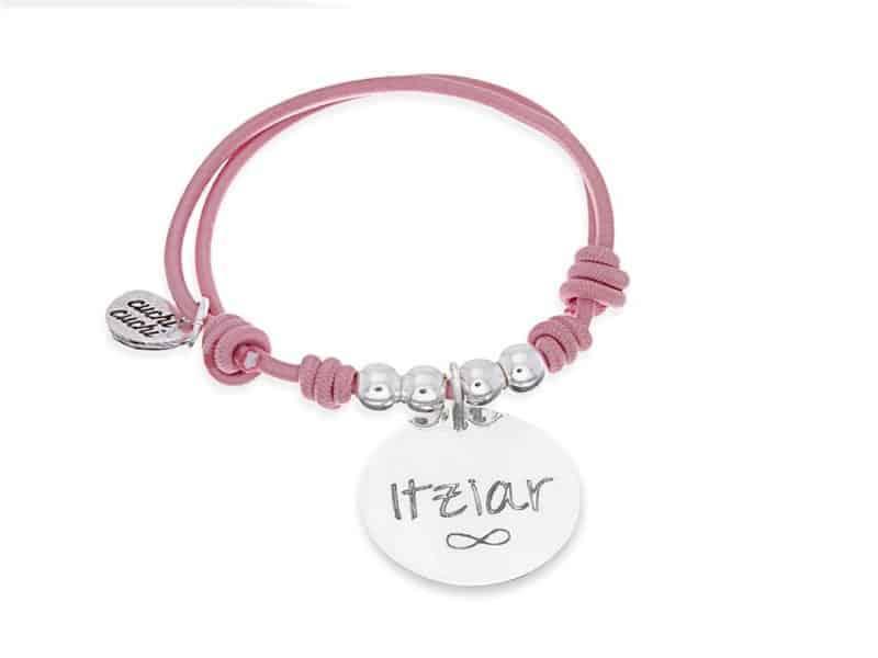 Pulsera personalizada elástica rosa