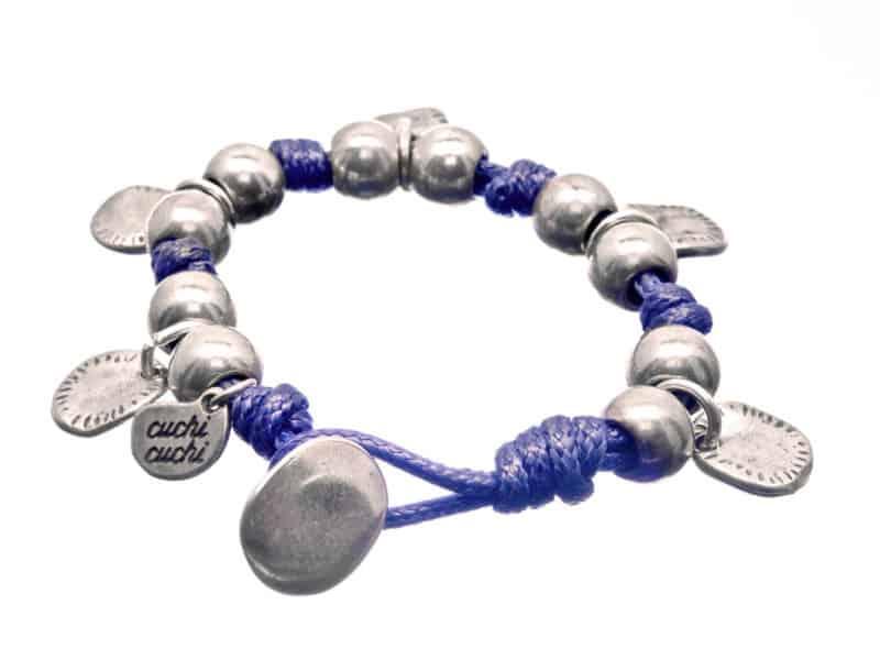 pulsera bolas de plata y colgantes