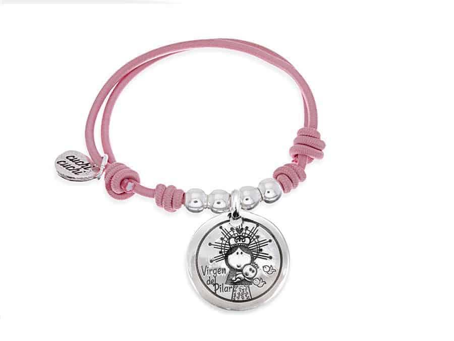 f7fb90519df9 Pulsera personalizada elástico rosa Virgen del Pilar  Regalos Cuchi ...