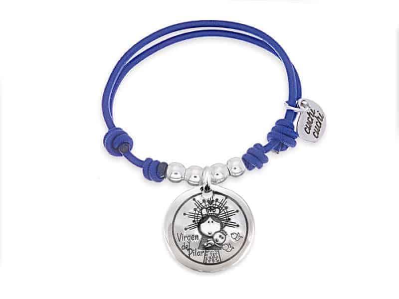 Pulsera personalizada elástico azul Virgen del Pilar