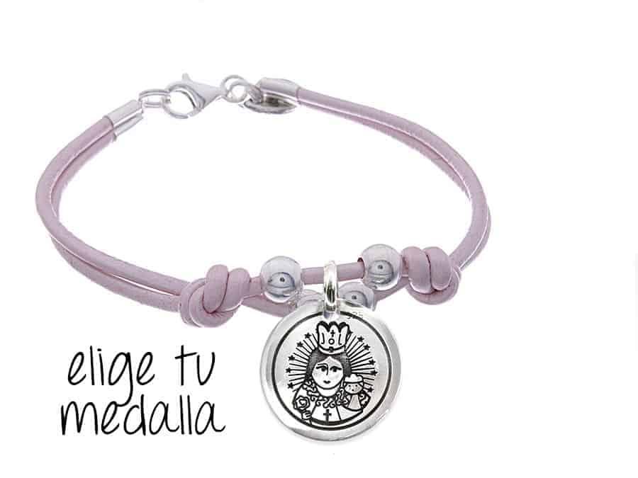 9e5024961f7e Pulsera personalizada cuero rosa Virgencita plis - Cuchicuchi ...