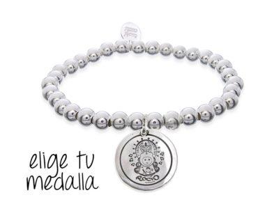 Pulsera personalizada bolitas plata Virgencita plis