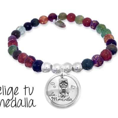 Pulsera personalizada agata multicolor pardo Virgencita plis