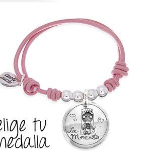 Pulsera personalizada elástico rosa Virgencita plis