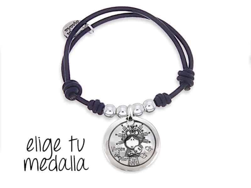 Pulsera personalizada elástico negro Virgencita plis