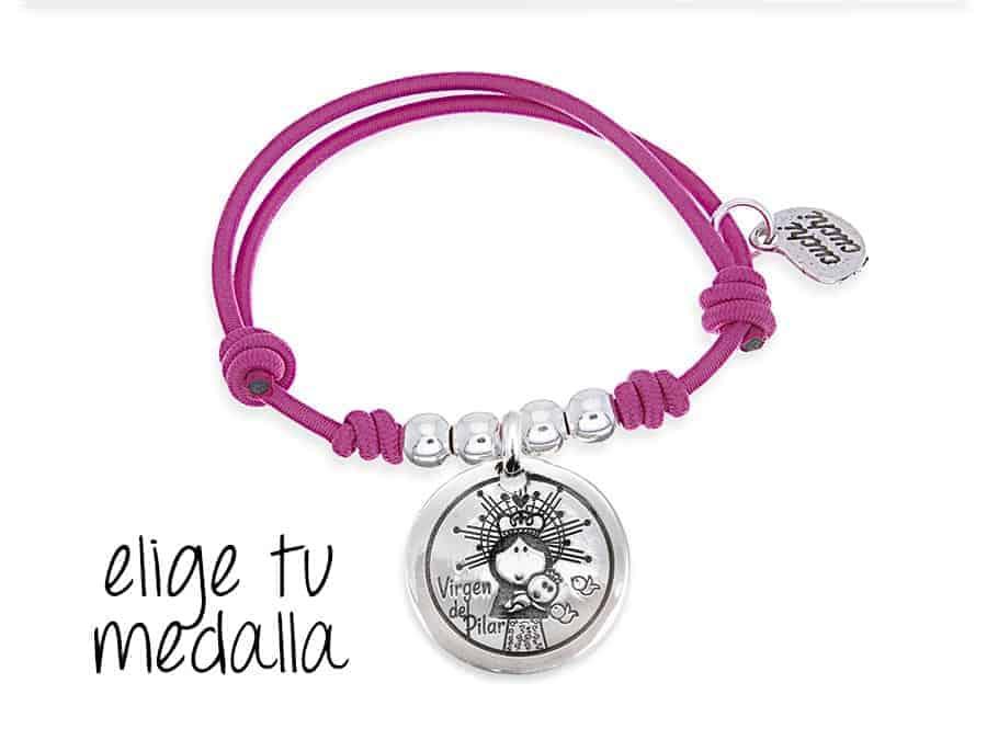Pulsera personalizada elástico fucsia Virgencita plis