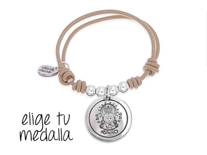 Pulsera personalizada elástico beige Virgencita plis