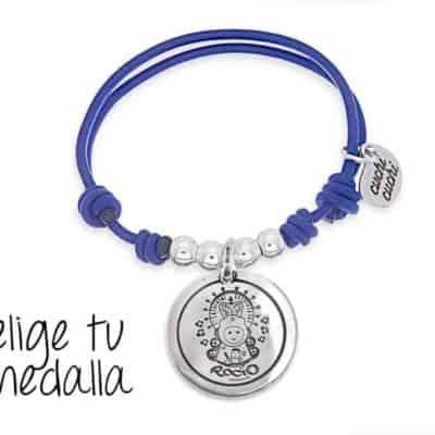 Pulsera personalizada elástico azul Virgencita plis