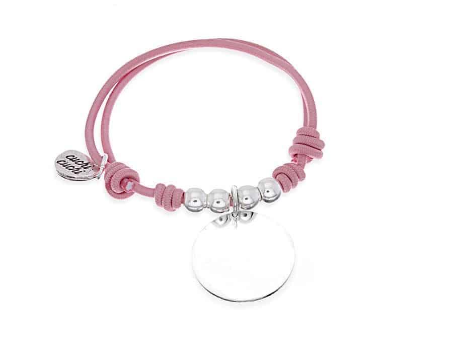 Pulsera personalizada elástico rosa