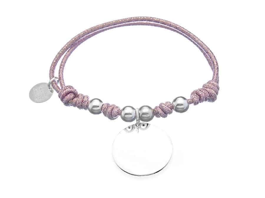 Pulsera personalizada elástico rosa metalizado