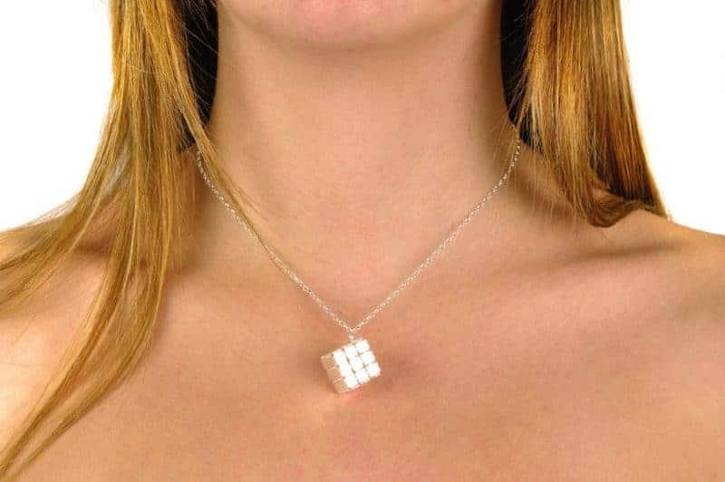 gargantilla plata cubo regalo mujer