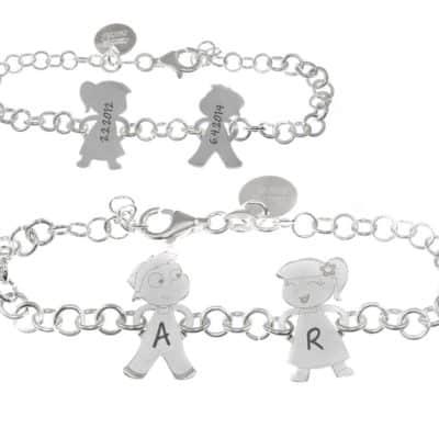 pulsera de plata con niños para mamas