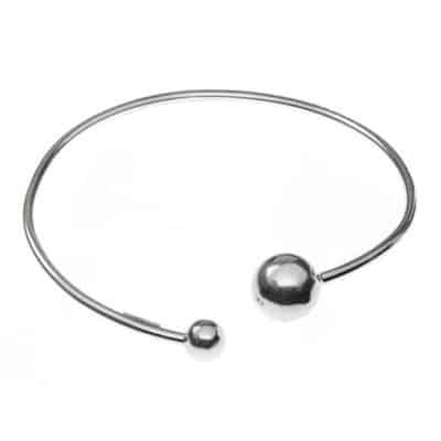 Brazalete ajustable plata de ley bolitas y perla
